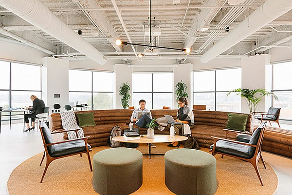 The common area in WeWork's newest San Diego location overlooks UTC. Photo courtesy of  WeWork