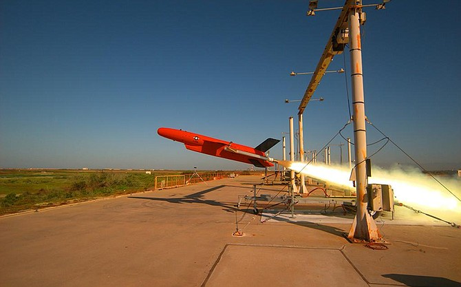 A BQM-177A subsonic aerial target takes to the air in May 2017 at a U.S. Navy facility in Ventura County. Photo courtesy of U.S. Navy