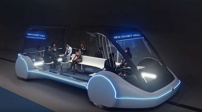 Rendering of Boring's high-occupancy autonomous electric vehicle planned to run between Las Vegas Convention Center exhibit halls (photo courtesy of the Las Vegas Convention and Visitors Authority)