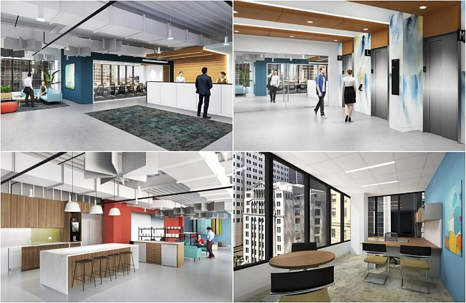 Renderings of Carr Workplaces's planned co-work space at The Bloc