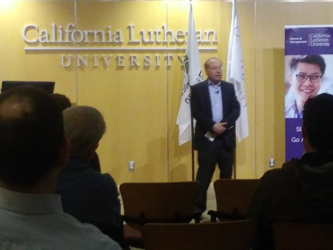 Henry Dubroff at Entrepreneur Series event at California Lutheran University in Thousand Oaks.