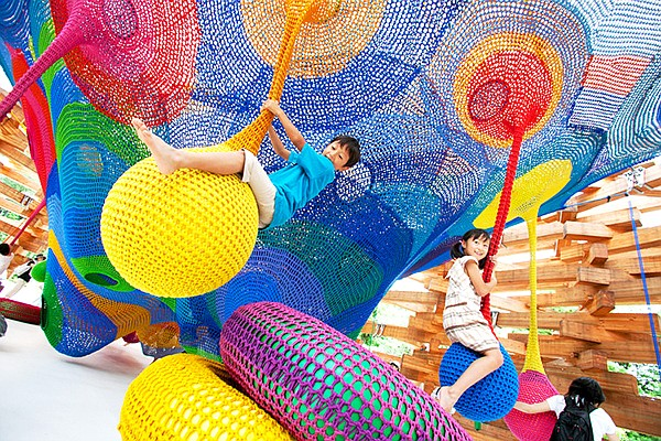 """The New Children's Museum announced a newly commissioned work by fiber artist Toshiko MacAdam, this is """"Woods of Net"""", a prior work by MacAdam. Photo courtesy of The New Children's Museum"""