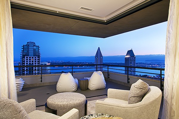 The view from the master bedroom patio in a condominium at 700 Front St. in the Meridian residential high-rise building in the Horton Plaza District. Photo courtesy of Pacific Sotheby's International Realty