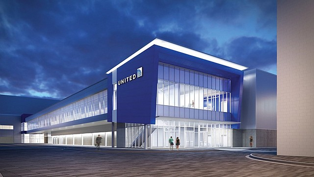 Maintenance Facility: United Airlines' new 407,000-square-foot hangar is under construction.