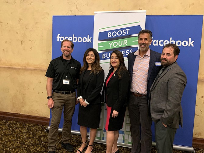 Dignitaries attended Facebook's presentation in San Fernando. From left: Tom Ross of the Government Affairs Committee at the San Fernando Chamber of Commerce; Adriana Gomez, president of the chamber; Assembly Member Luz Rivas (D-Arleta); Severyn Aszkenazy with the chamber; and Nick Kimball, city manager for San Fernando.