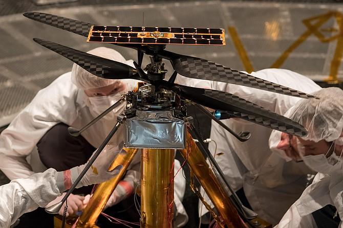 Mars helicopter at Jet Propulsion Laboratory in La Canada-Flintridge.