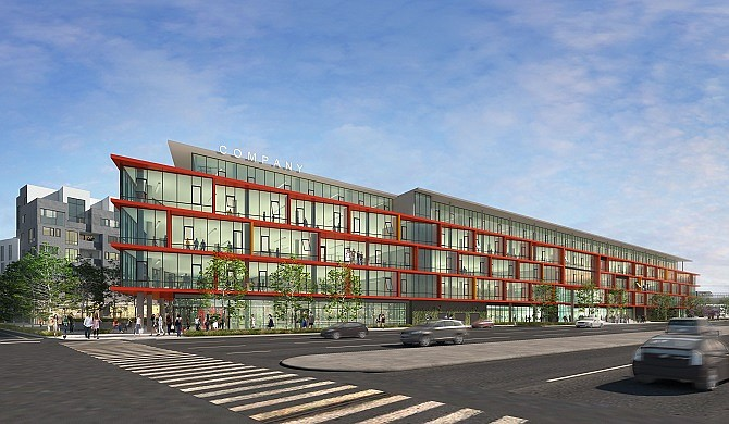 Rendering of Ivy Station office view from Venice Boulevard