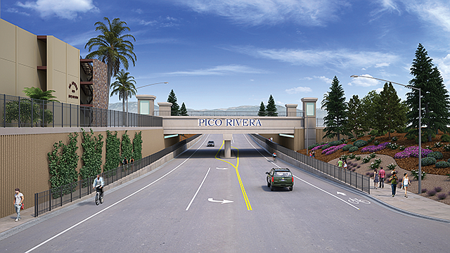 Traffic Control: Rendering of Durfee Avenue grade separation project.