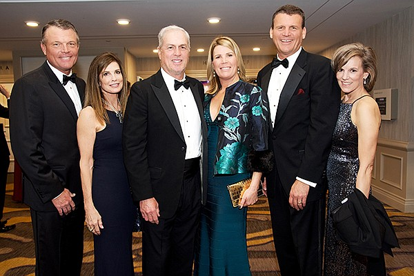 Mike Frager, left, Ann Frager, Rob Hixson, Gina Hixson, James Frager, chairman of Scripps Mercy Hospital Foundation Advisory Council, and Devon Frager at Scripps 47th Annual Mercy Ball. Photo courtesy of Bob Ross and Carol Sonstein