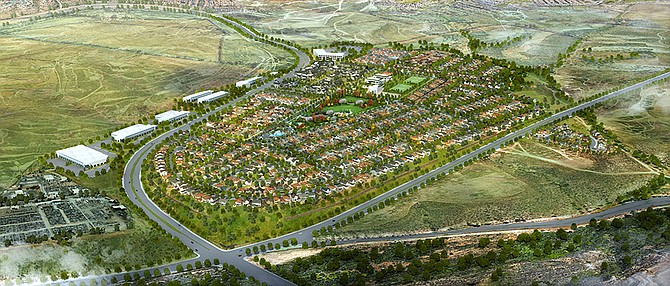 The Village of Escaya will include a community park. Rendering courtesy of HomeFed Corp.