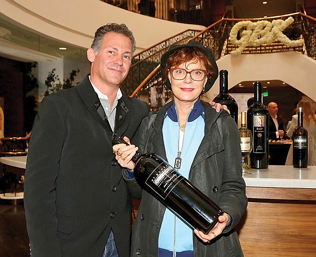 Pricey Promotion: GBK's Gavin Keilly with actress Susan Sarandon at a party before the Oscars.
