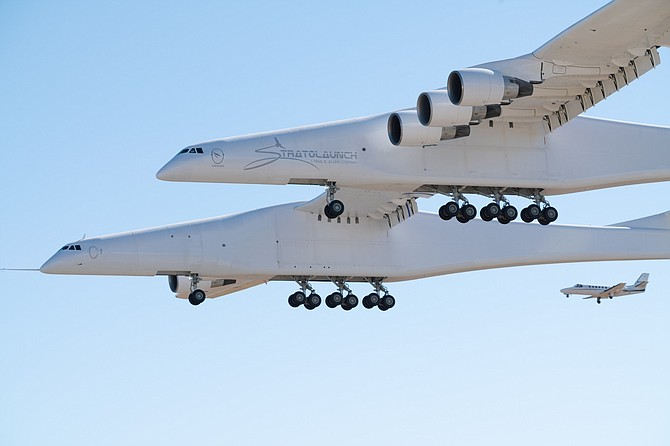 Stratolaunch airplane during test flight in Mojave.