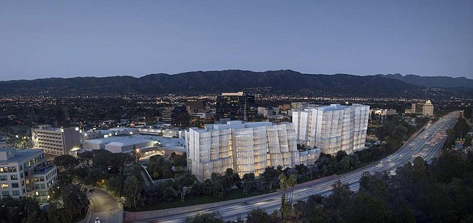 Rendering of Frank Gehry-designed towers at Warner Bros. in Burbank.