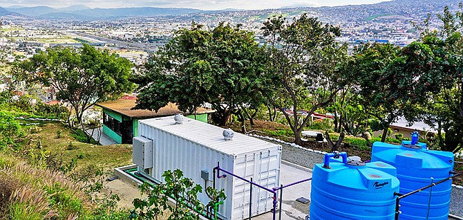 AquaCycl's water treatment systems are installed for a pilot program in Tijuana. Photo courtesy of AquaCycl