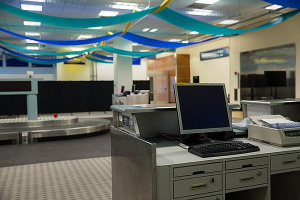 The San Diego Airport Innovation Lab is housed in the former commuter terminal. The space gives startups room to test their solutions on a baggage carousel and ticket counters while receiving guidance from airport leadership. Courtesy of the San Diego International Airport