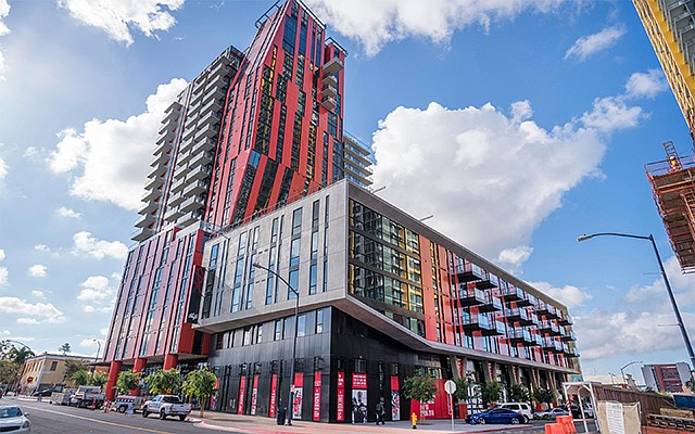 At 21 stories and with a distinctive angled design and red and black color scheme, Shift apartments at 1501 Island Ave. is bringing a new look to San Diego's East Village.