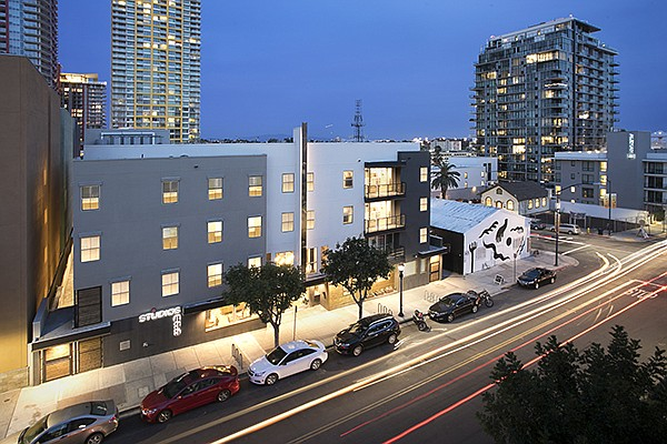 A former single room occupancy hotel in downtown San Diego has been renovated as Studios435 — a micro apartment project. Photo courtesy of FPA Multifamily LLC