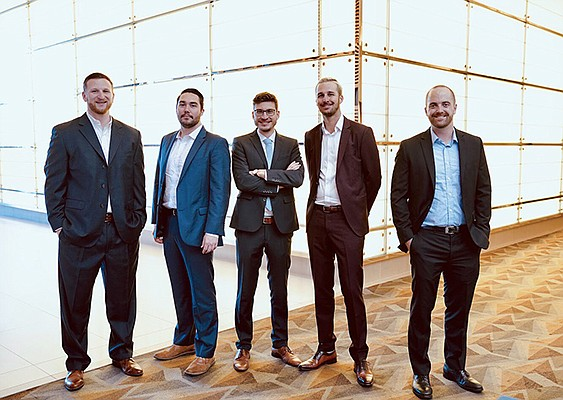University of San Diego students Shane Isdaner, Ted Kavich, Johannes Hummel, Alexander Dow and Tyler Jenkins formed a winning team in an international real estate design competition. Photo courtesy of University of San Diego School of Business
