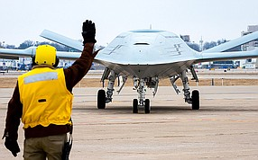 The MQ-25 unmanned aerial tanker aircraft will go to sea with U.S. Navy aircraft carriers. Photo courtesy of Boeing Co.