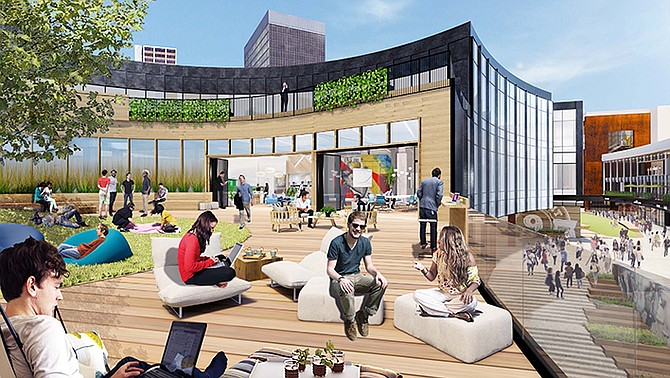 The former food court at Horton Plaza will be converted into what its new owners call an amenity deck. Rendering courtesy of Stockdale Capital Partners