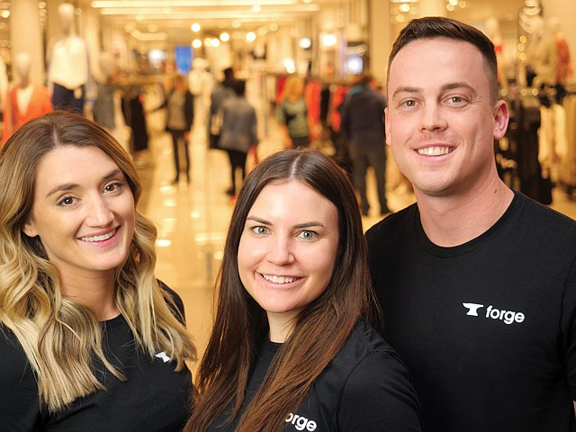 Mall Rats: (From left) Forge executives Megan Hottman, Stacey Ferreira and Keaton Wyse at the Mall of America.