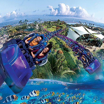 Right, SeaWorld San Diego will debut its new coaster, the Tidal Twister, on May 24, as well as a new four-weekend concert series in early May called Viva la Música. Photo courtesy of Sea World