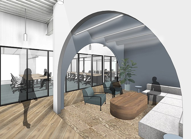 Rendering of CommonGrounds downtown coworking space