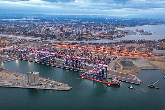 Private Interest: Advanced cranes arrive at the Long Beach Container Terminal.