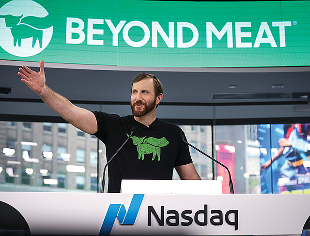 Above and Beyond: CEO Ethan Brown speaks before the Nasdaq opening bell.