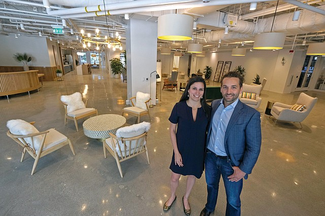 Office Open: Tishman Speyer's Thais Galli and Paul DeMartini at the company's new coworking space in Beverly Hills.