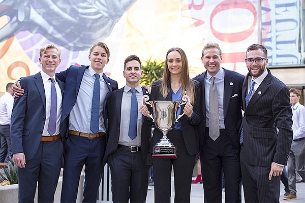 USD winning team in real estate completion, left to right, Alex Spangler, Zachary Burns, Mitch DiLorenzo, Claire Hunn, Ryan Todd and Alex Baracchini. Photo courtesy of the University of San Diego School of Business