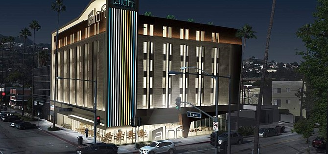 Rendering of Aloft Hotel at 1100 N. Brand Blvd. in Glendale.