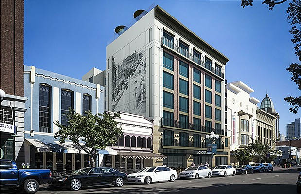 A European-style Marriott hotel is planned for the downtown Gaslamp Quarter. Rendering courtesy of Civic San Diego