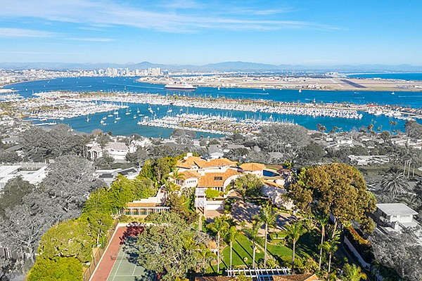 An aerial view of 701 Gage Drive in Point Loma. Photo courtesy of Willis Allen Real Estate