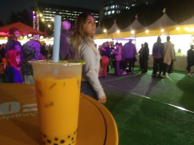 A boba milk tea beverage from Northridge's The Boba Truck Cafe, available for purchase at Los Angeles Times Food Bowl 2019.