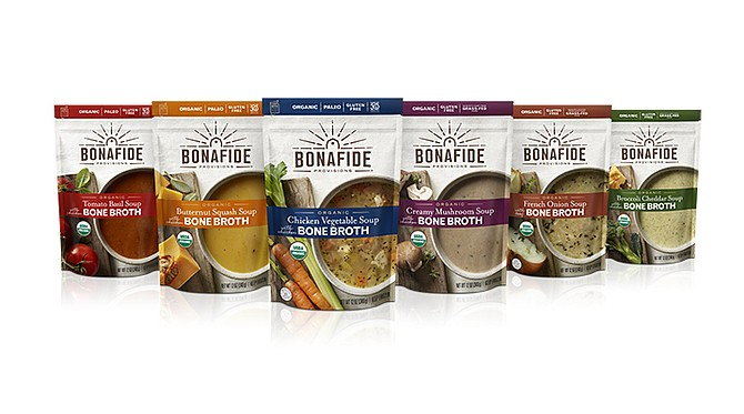 Bonafide Provisions sells chicken, beef, turkey and frontier flavored broths and other bone broth-based food products in about 6,000 stores nationwide. Photos courtesy of Bonafide Provisions LLC