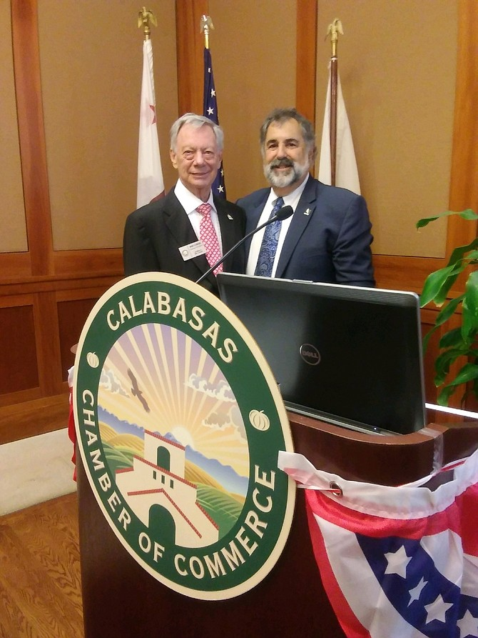 Calabasas Chamber Chairman of the Board Mark Levinson and Calabasas Mayor David Shapiro at Thursday's Mayoral Luncheon.