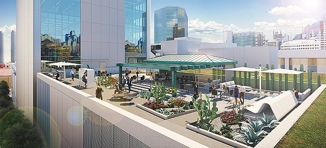 A rooftop deck is among the amenities in the renovated Tower 180.  Rendering courtesy of Hammer Ventures.