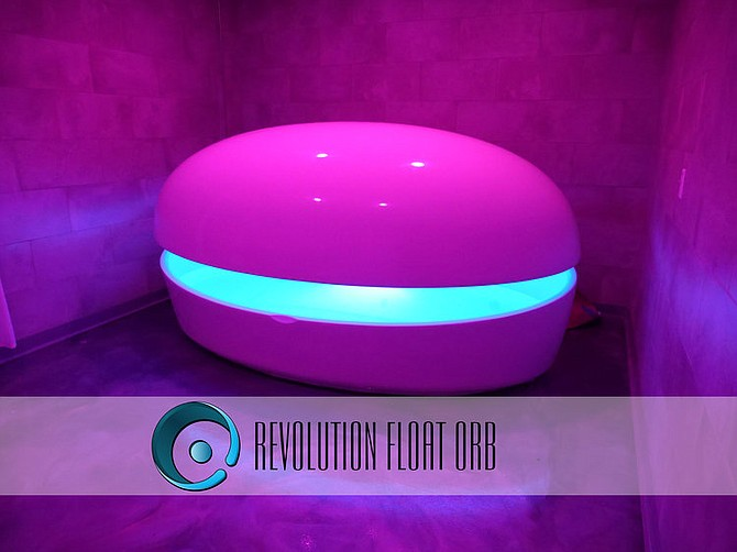 Floating at Yauvana Yoga & Float will take place in pods with 10 inches of water in them that is the same temperature of the body and with 1,100 pounds of Epsom salt. Photo courtesy of Yauvana Yoga & Float.