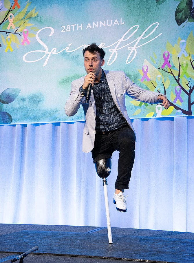 Evan Ruggiero, a tap dancer who lost his leg to cancer, entertains the crowd at Scripps' 28th Annual Spinoff Gala. Photo courtesy of Bob Ross and Robin Wood.