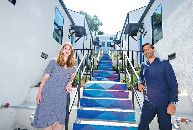 Founder Anil Khera (right) with Tara Stephenson, who lives at Node and runs events.