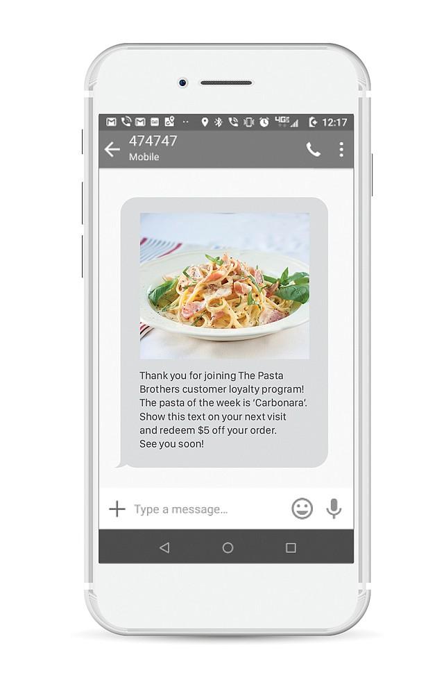 Text Alert: EZ Texting sends text message ads for clients.