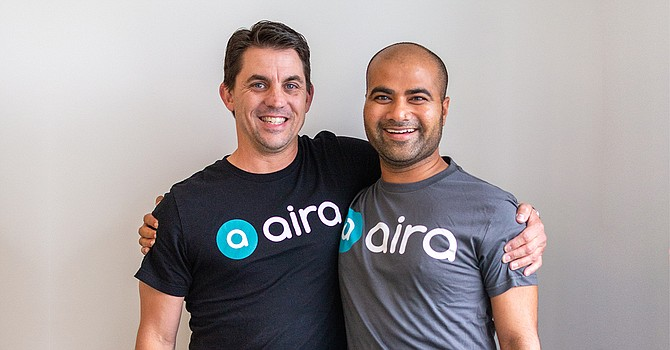 Mike Randall (left) joined Aira as its new CEO in June. Founder Suman Kanuganti (right) will serve as president of the company. Photo courtesy of Aira.