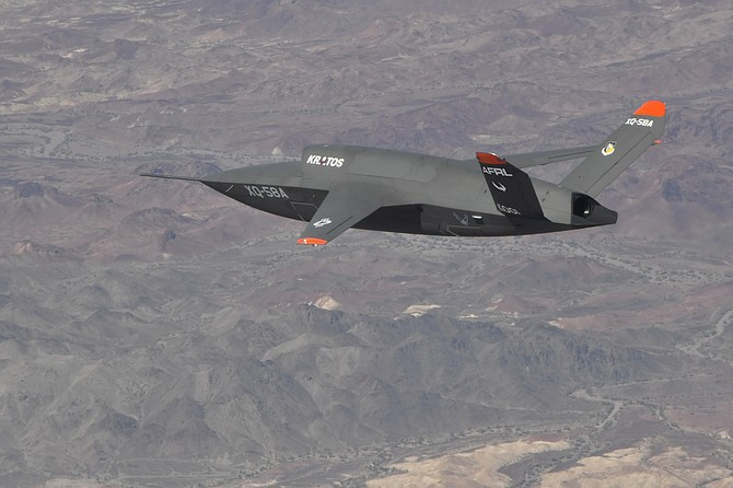 Kratos Defense's Valkyrie aircraft on its second test flight June 11 in Arizona. Photo courtesy of Kratos Defense and Security Solutions.