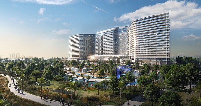 A key permit has been approved for a planned $1.1 billion hotel and convention center on the Chula Vista bay front, clearing the way for project financing. Photo courtesy of the Port of San Diego.