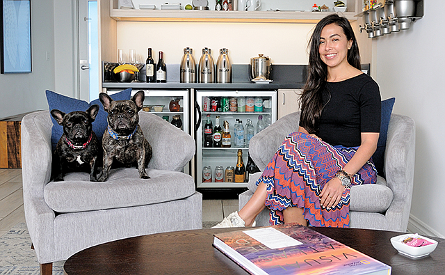 Pampered Pups: Private Suite's Amina Belouizdad and her furry friends visit one of the company's suites at LAX.