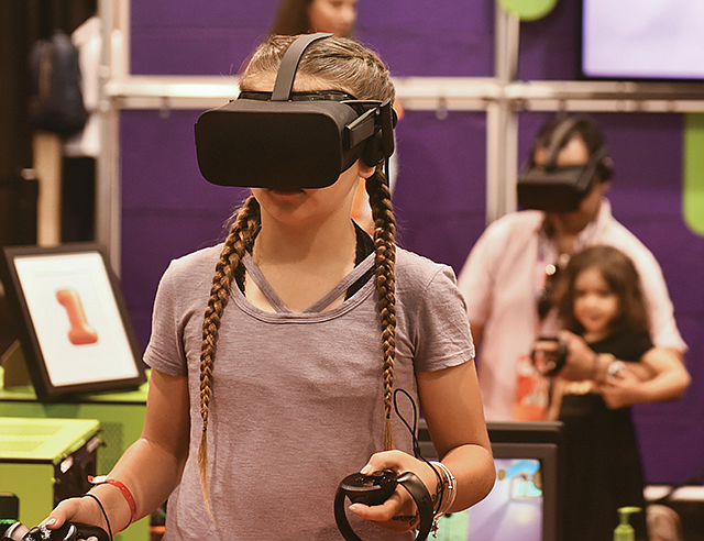 Advanced Entertainment: An attendee at 2017's VidCon tries out virtual reality.
