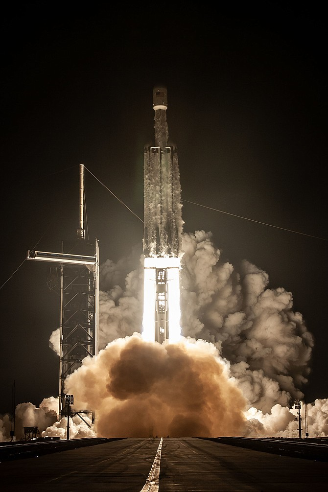 The Falcon Heavy rocket carrying the Orbital Test Bed satellite blasts off from Florida early June 25. Photo courtesy  of SpaceX Corp.