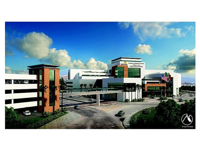 A rendering shows a binational hospital being built by Sistemas Medicos Nacionales S.A. in Tijuana. Scripps Health was slated to partner on the project, but no longer. Photo courtesy of SIMNSA.