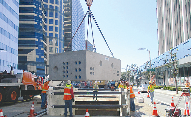 Westwood Ho: Workers install a vault for L.A. Metro's Purple Line Extension.